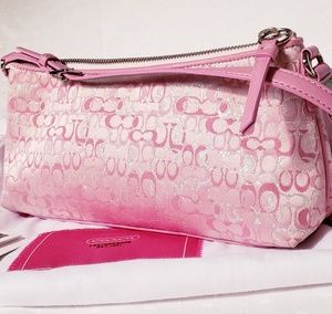 New Coach Signature C Jacquard Pink on Pink Bag